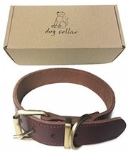 WintMing Dog Leather Training Collar With Name Tag For Small Medium Large Doggy - $25.36
