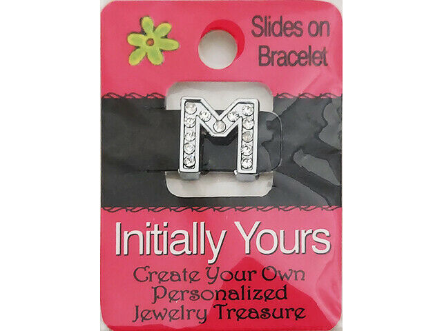 Initially Yours Rhinestone Letter Bracelet Slide, Letter M