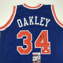 Autographed/Signed CHARLES OAKLEY New York Blue Basketball Jersey JSA CO... - $84.99