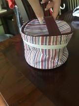Longaberger Cosmetic Bag Market Stripe Zip Mothers Day Essentials Make U... - $9.85