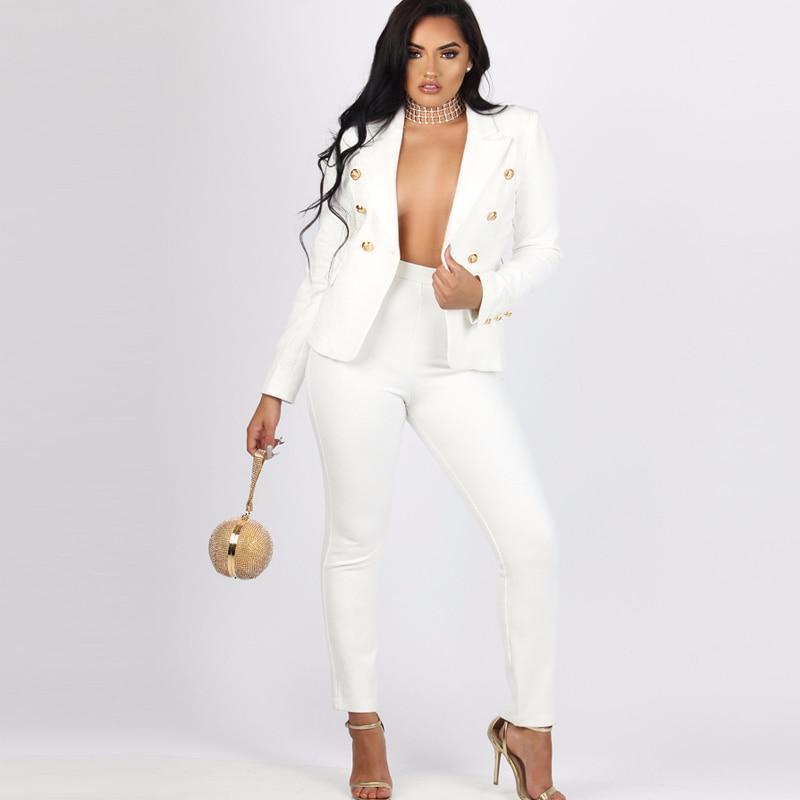 2019 sexy work pant suits ol 2 piece set for women business interview suit set uniform