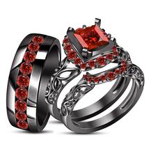 14k Black Gold Fn Princess Cut red Garnet Wedding Ring Trio Set & Free Shiping - $165.20