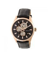 Heritor Automatic Stanley Semi-Skeleton Leather-Band Watch - Rose Gold/B... - £494.49 GBP