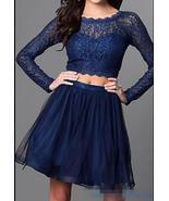 Navy Blue Lace Two Pieces Prom Dress Long Sleeve Women Homecoming Gowns ... - $123.66