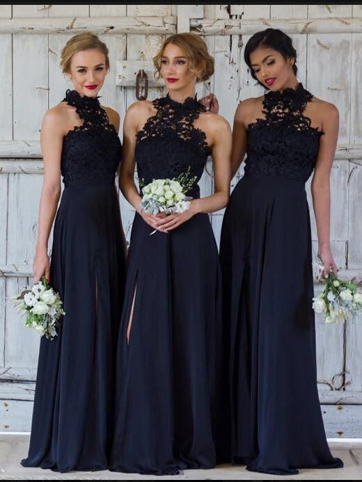A-LINE BRIDESMAID DRESSES DARK NAVY LONG BRIDESMAID DRESSES,PD1513