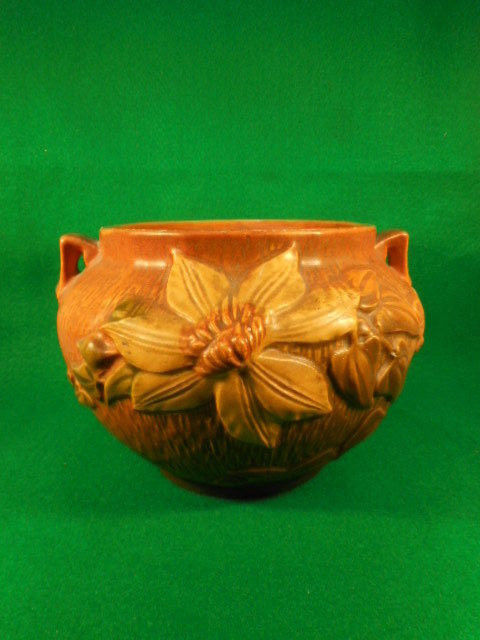 Vintage Roseville Clematis Brown and Yellow 2 Handled Jardinere 667-5""