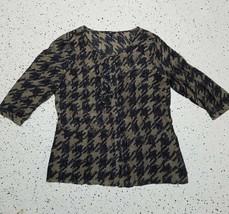 GAP Women's Button Down Blouse ~ Sz L ~ Blue & Brown ~ Very Light Material - $14.84
