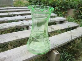 Uranium/ Vaseline Glass Vase with Ruffled Edges - $23.75
