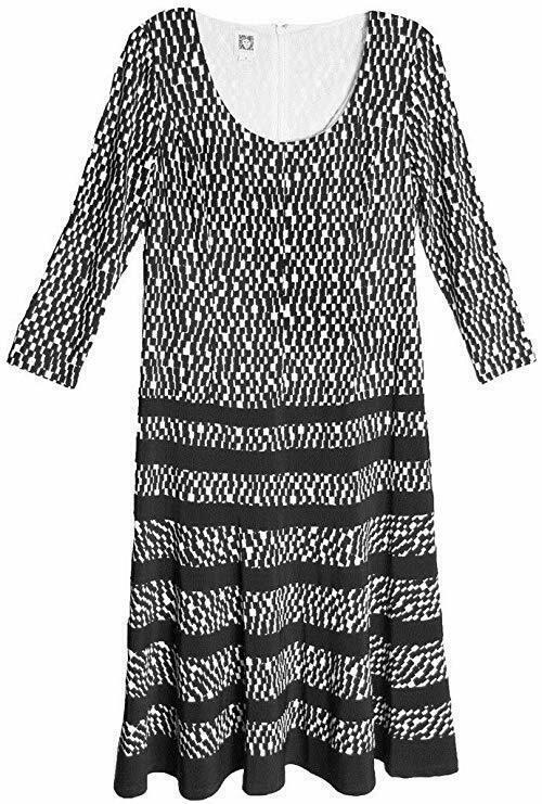 Anne Klein Dress  Sz 8 Black Camellia Business Casual Party Jersey Swing Dress