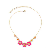 Candy Color Sweet Girl Enamel Flowers Necklace Wholesale Jewelry - $8.32