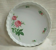 "Rose by Christineholm 9-1/2"" Tart Quiche Dish Pink Roses Buds Green Leaves - $29.69"