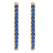 0.30 Ctw Round Cut Sapphire Womens Hoop Earrings 18k Yellow Gold Finish  - $54.82