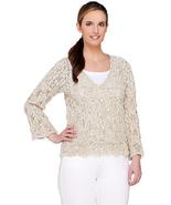 Aran Craft Cotton & Linen 3/4 Sleeve Open Knit Shrug , Size L, $109 - $59.39