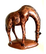 African Giraffe Vintage Hand Carved Wooden Art Figurines 4.5 inches Tall - $48.50