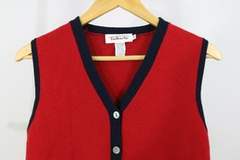 Talbots Women's Navy Red Wool V-Neck Button Front Pockets Sweater Vest S... - $7.67