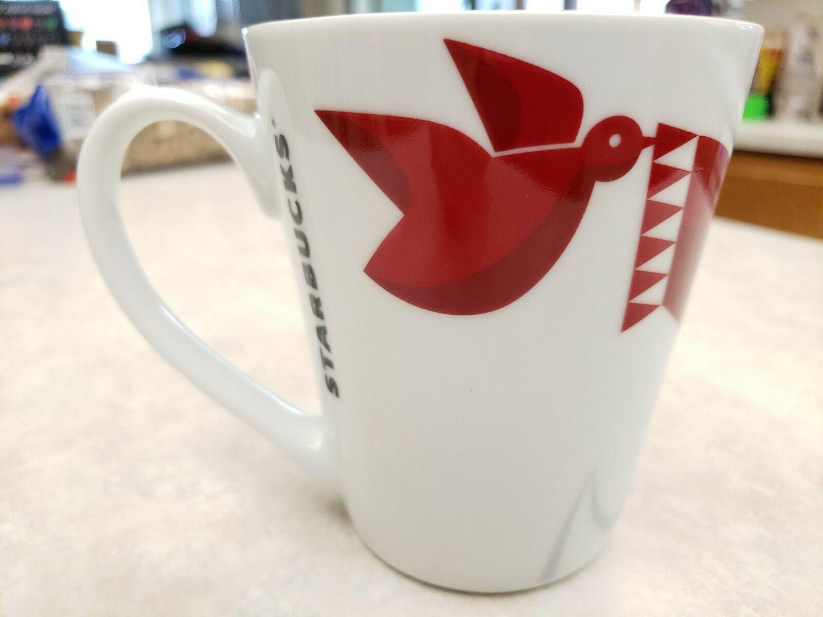 Starbucks Mug  2012 Red Fox Scarf Dove Coffee Tea Mug image 4