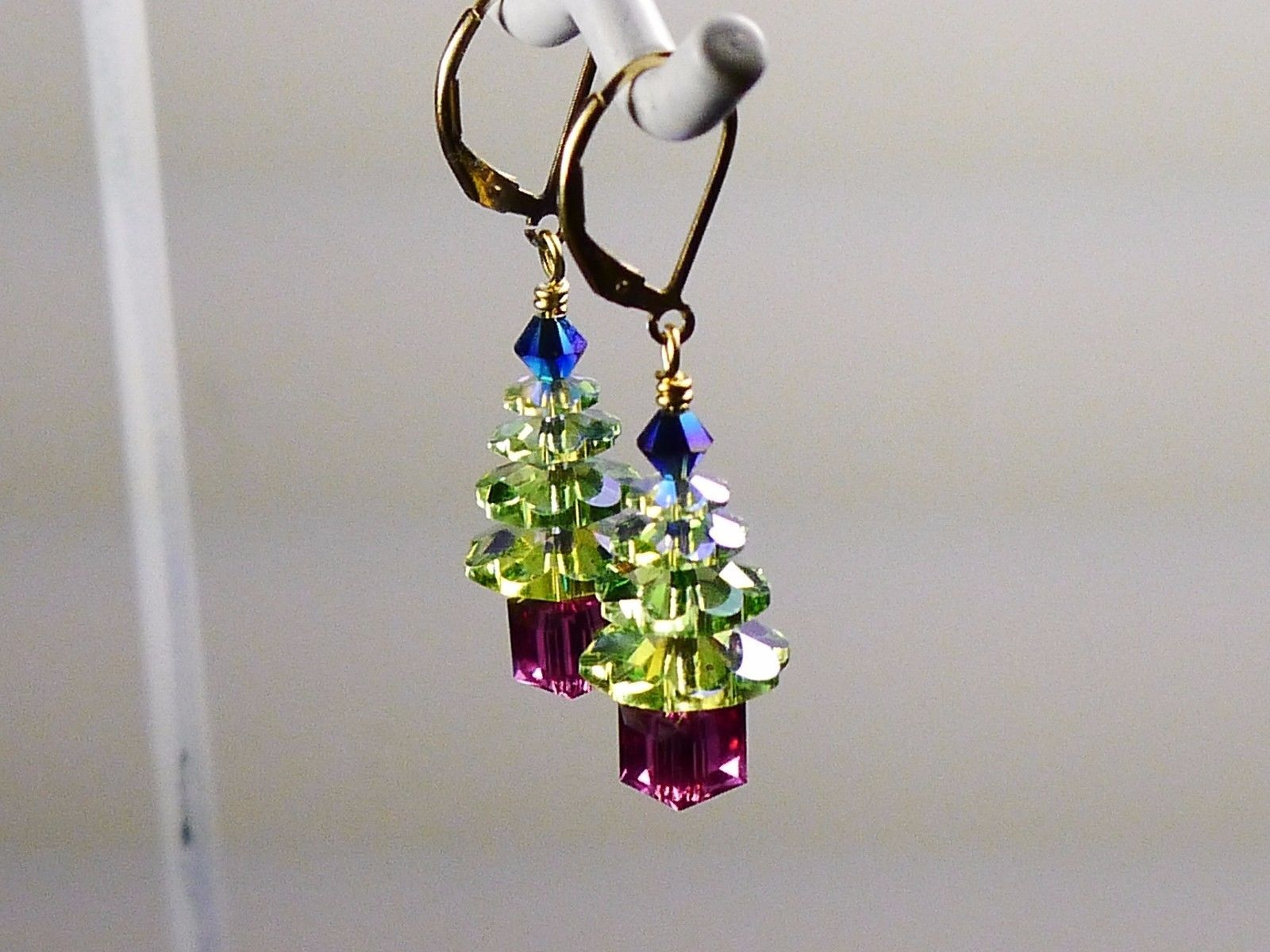 Christmas Tree Holiday Earrings/ 1 OF A KIND /made w/Swarovski Crystals/14k Gold image 5