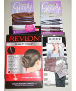 Revlon Brunette Bun Maker Goody 6 Bobby Pins 8 Hair Ties Gimme Pony Wraps-NEW - $12.82