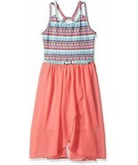 Amy Byer Girls Double Strap Belted Tank Dress w/ Tulip Skirt Coral Teal ... - $22.55