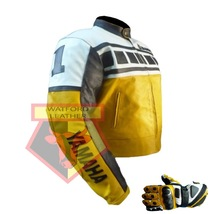 Yamaha Yellow Motorbike Motorcycle Cowhide Leather Jacket With Free Gloves - $214.99