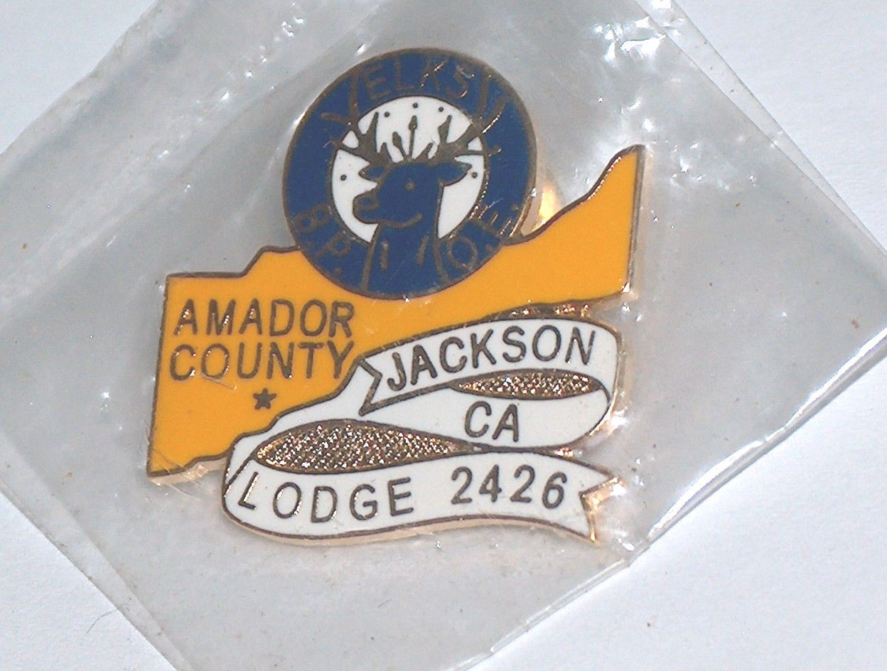 NEW Elks BPOE Amador County Jackson California Lodge 2426 Pin Button NIP
