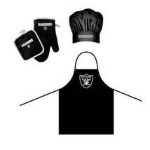 NFL Oakland Raiders Barbeque Apron, Chef's Hat and Pot Holder Deluxe Set - $27.86