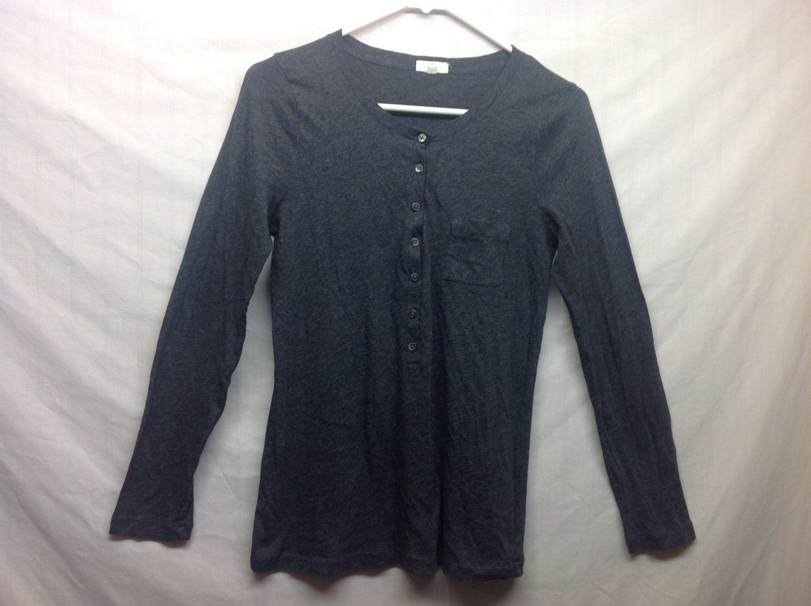 J. CREW Grey Button Up Pullover Long Sleeve Tissue Tee POLO Sz S