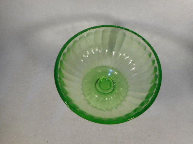 Vintage Green Depression Vaseline Glass Footed Sherbert
