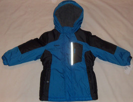 New Toddlers OshKosh B'gosh Hooded Colorblock Jacket Sizes M or L Blue/Black $90 - $40.00