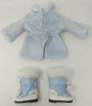 American Girl Doll Snow Flurry Outfit Blue Furry Plush Fleece Coat Boots VTG - $14.84