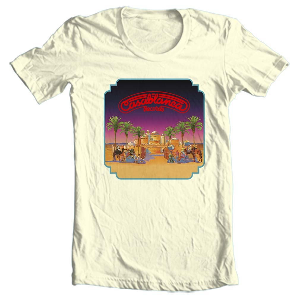 Vy metal rock disco retro nostalgic record label graphic tee shirt for sale online free shipping