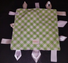 east & El Security Tags Blanket Lovey Green White Gingham Plaid Sherpa Lined - $14.80