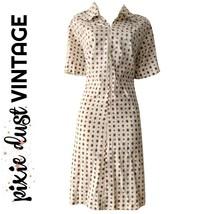 Vintage Dress Shirtdress Shirt White 1970s 70s Collared Short Sleeve Siz... - $39.48