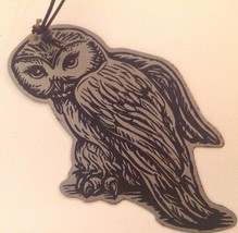 Owl Ornament Gray Metal Black Drawing Bird Holiday Hanging Flat Star - $18.77
