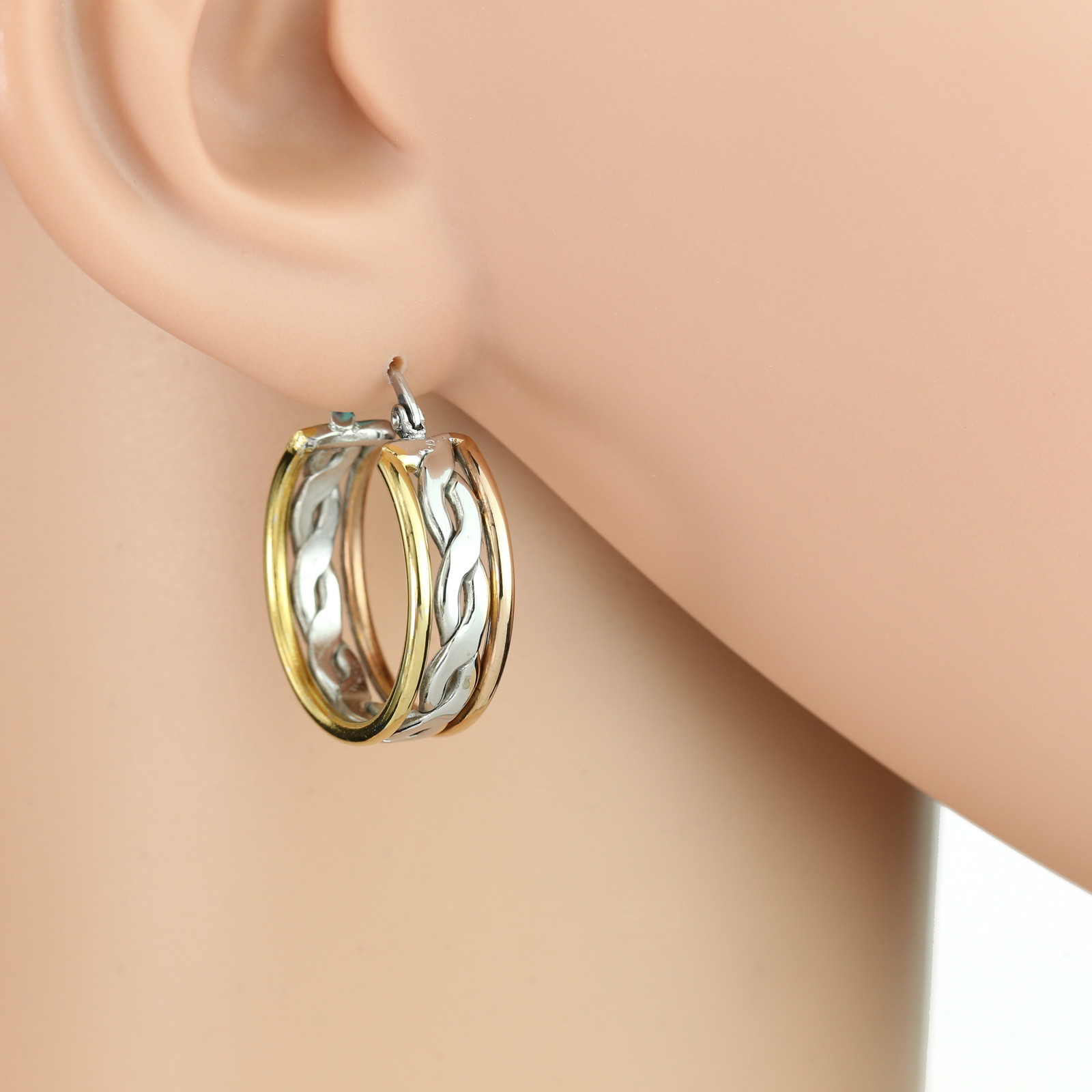 Unique Twisted Tri-Color Silver, Gold & Rose Tone Hoop Earrings- United Elegance
