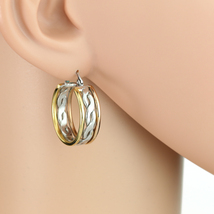Unique Twisted Tri-Color Silver, Gold & Rose Tone Hoop Earrings- United Elegance image 1