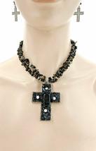 Black Shards AB  Rhinestone Cross Pendant Necklace Earrings Goth, Punk, Casual - $17.10