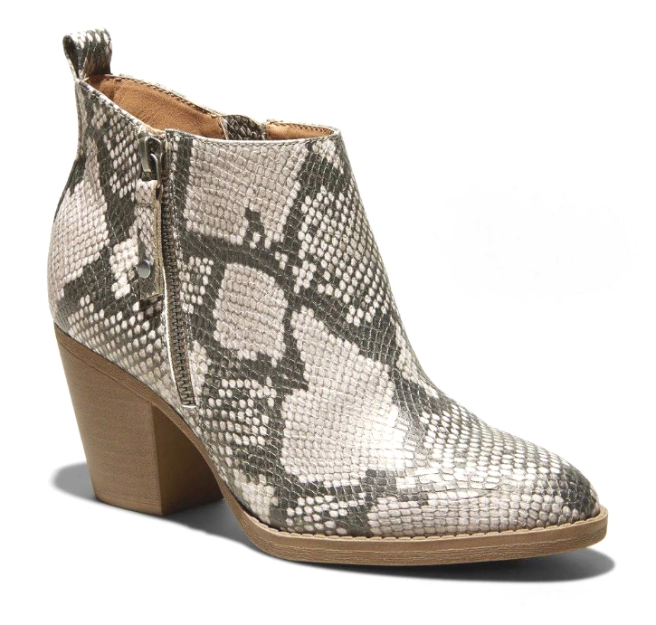 """Universal Thread Jameson Gray Faux Snakeskin 3"""" Heeled Zip Ankle Bootie NEW"""