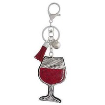 Crystal studded red wine plush keychain - $13.86