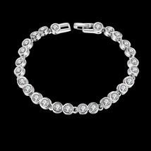 Fashion Tennis Rhinestone Crystal Silver Wedding Bridal Stretch Bracelets Bangle - $12.73