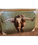 Longhorn Bull Oil Painting Texas Longhorn Farmhouse 52x33 Inches - $606.25