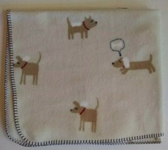 Gymboree Fleece Blanket Dog Bone Cream Puppy Baby Security Lovey 30 x 35... - $69.25