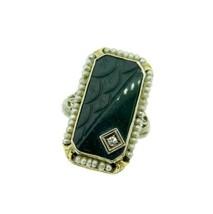 14k White Gold Filigree Carved Bloodstone Ring (#J4685) - $550.00