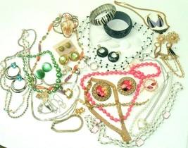 Costume Jewelry Lot Boho MOD Metal Vintage Retro Statement Plastic Rhine... - $36.58