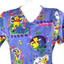 Disney Winnie The Pooh Eeyore Piglet Springtime Love Flowers Medium Scru... - $15.83