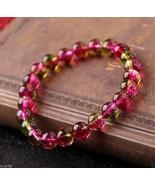 6MM Genuine Natural Watermelon Tourmaline Gemstone Beads Stretchy Bracel... - $7.22