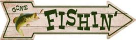 "Gone Fishin Novelty Metal Arrow Sign 17"" x 5"" Wall Decor - DS - $21.95"