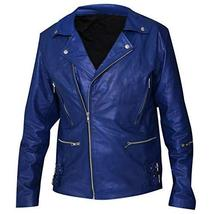 Jared Leto 30 Seconds to Mars Blue Motorcycle Synthetic Leather Jacket image 1