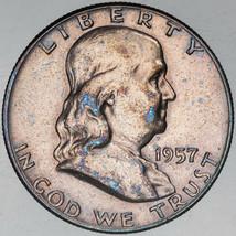 1957-P FRANKLIN SILVER HALF DOLLAR BLUE SPOTTED COLOR TONING UNC BU SELE... - $197.99