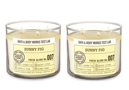 2 Bath & Body Works Test Lab Sunny Fig 3 Wick Scented Candle w Lid - $46.50